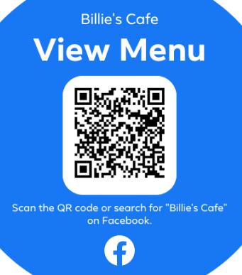 Billie's Menu